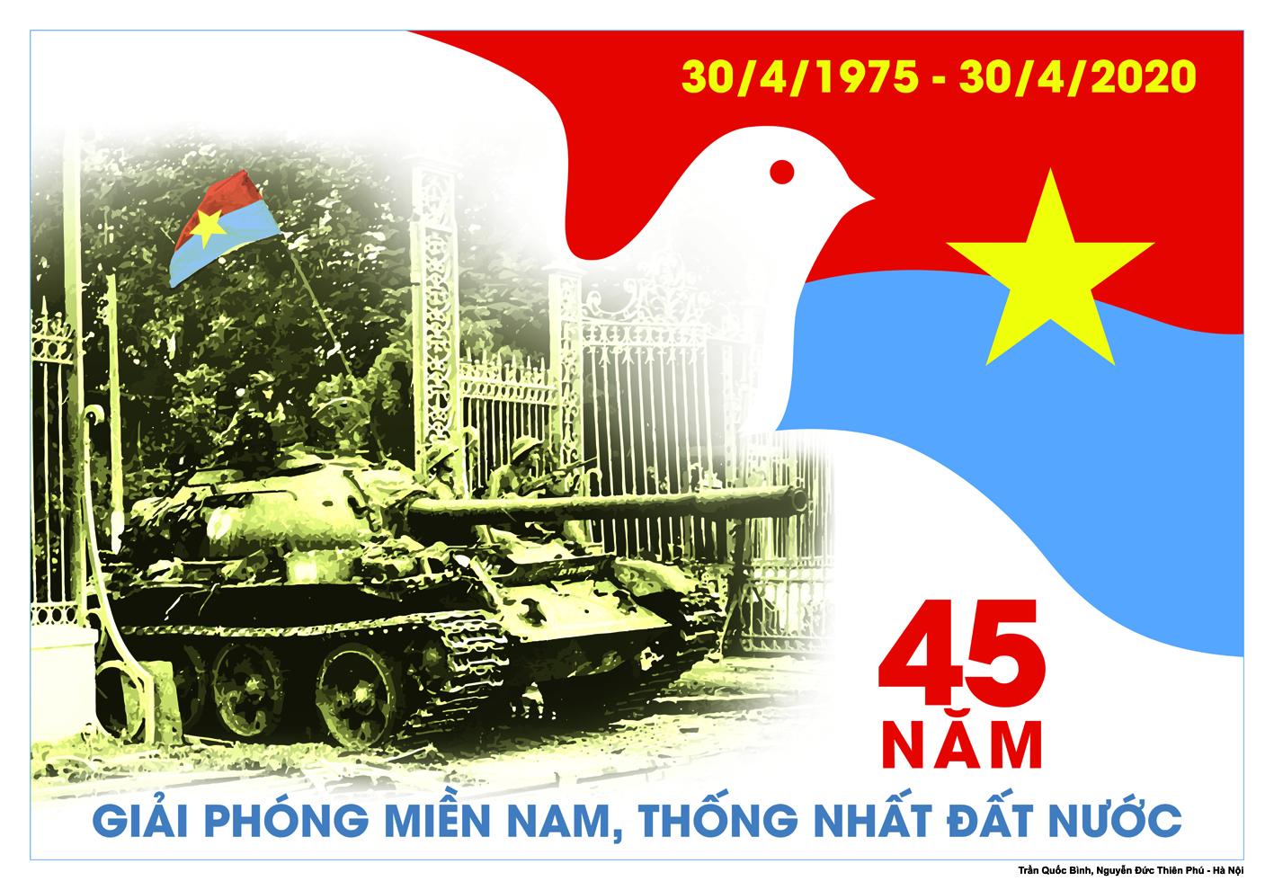 90 tranh cổ động kỷ niệm 45 năm Ngày thống nhất đất nước (30/4/1975-30/4/2020)
