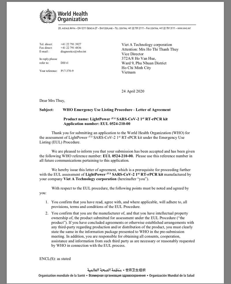 Điều đặc biệt về bộ kit xét nghiệm Covid -19 của Việt Nam vừa được WHO công nhận