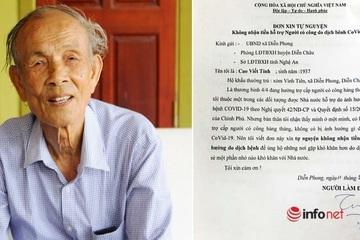 Cụ ông 83 tuổi viết đơn tự nguyện không nhận tiền hỗ trợ do ảnh hưởng dịch Covid-19