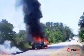 Xe con bốc cháy dữ dội trên đường Hồ Chí Minh, tài xế bị bỏng nặng