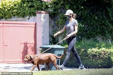 """""""Chân dài"""" Alessandra Ambrosio đeo khẩu trang kín mít, dắt thú cưng đi dạo"""