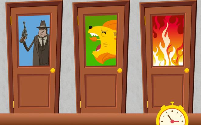 câu đố mẹo chọn cánh cửa có sư tử đói