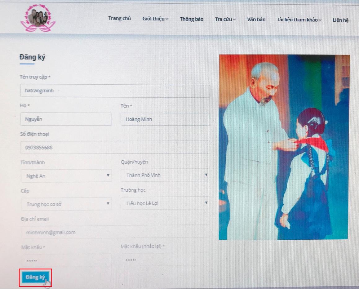 đăng ký thi trực tuyến cuộc thi Bác Hồ với thiếu nhi