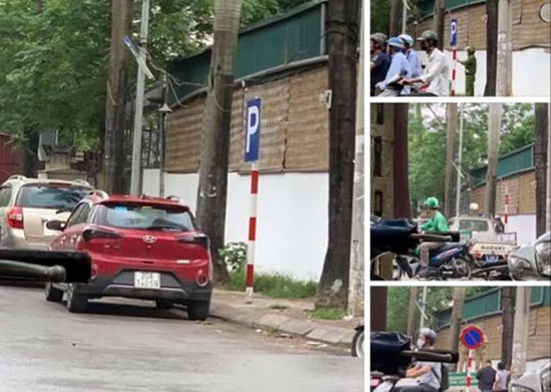 Hà Nội: Hy hữu 'kẻ giấu mặt' nhổ biển cấm đỗ ô tô trên đường, tráo biển 'cho đỗ'