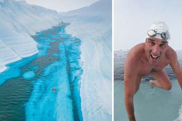 'Aquamen ngoài đời thực' lập kỷ lục bơi giữa dòng sông băng Nam Cực