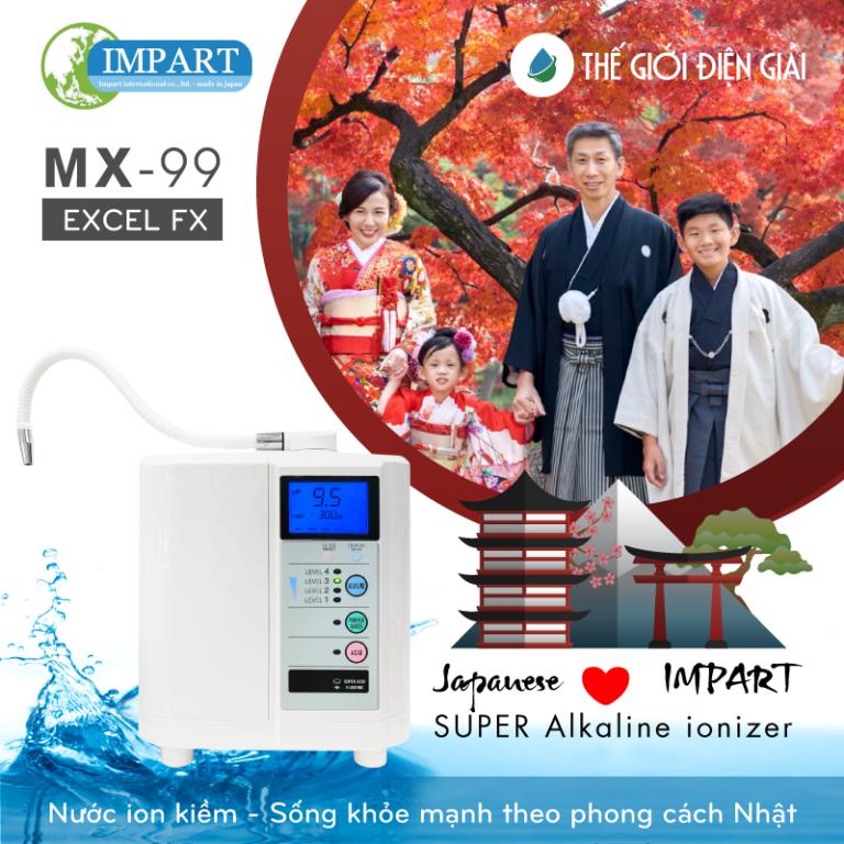 Máy lọc nước kangen mới Impart MX-99 với điện cực cải tiến tạo nhiều Hydro