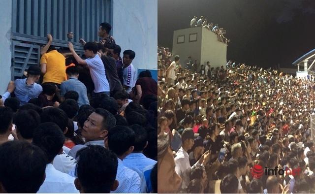 Hỗn loạn vì quá tải, trận đấu giữa Hồng Lĩnh Hà Tĩnh và CLB Hà Nội 'vỡ trận'