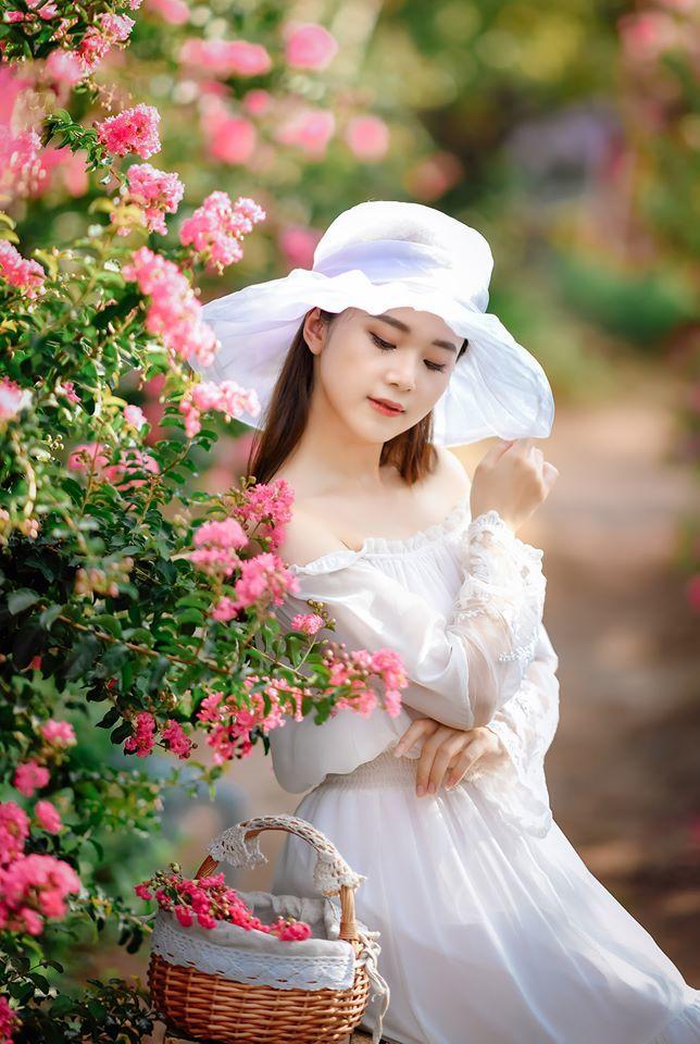 Nữ sinh Học viện Tài chính đẹp tinh khôi bên hoa tường vi