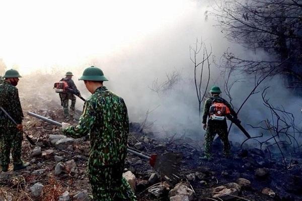 Xuyên đêm dập lửa, cứu rừng phòng hộ