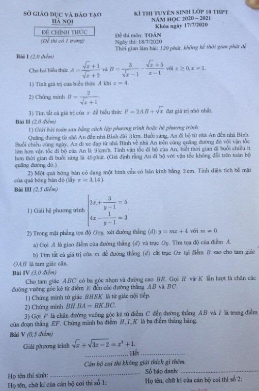 đáp án toán 10 Hà nội