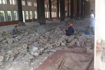 Nhà thờ Bùi Chu bắt đầu dỡ mái ngói, nền gạch