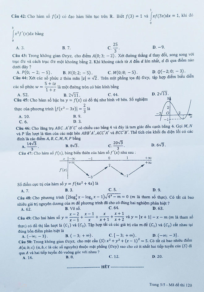 đáp án đề thi THPT 2019 t5