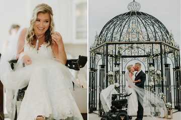 Xúc động đám cưới của cô dâu ngồi xe lăn có nghị lực phi thường