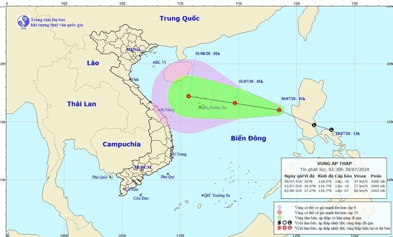 Áp thấp đi vào Biển Đông, gió giật cấp 7 và tiếp tục mạnh lên