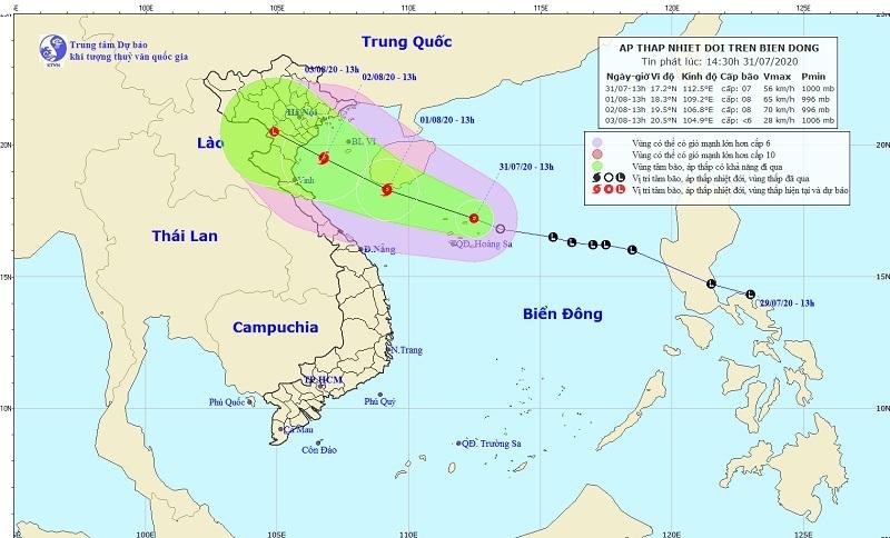 Áp thấp nhiệt đới khả năng mạnh lên thành bão, hướng vào vùng biển Thái Bình - Nghệ An