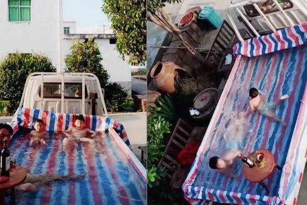 Người cha biến thùng xe tải thành bể bơi di động cho con