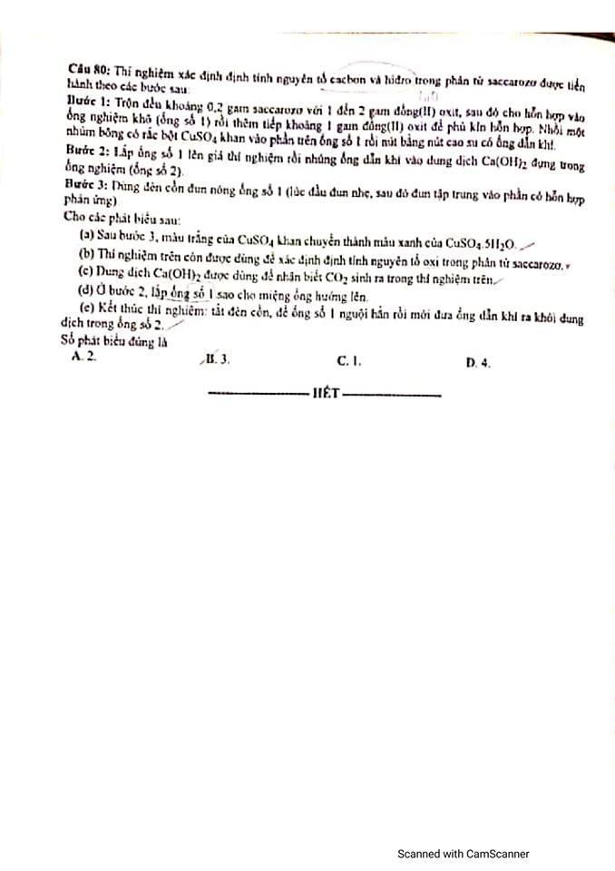 Đề thi, gợi ý đáp án môn Hóa học kỳ thi tốt nghiệp THPT 2020