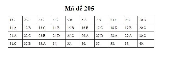 đáp án Vật lý thpt 2020 mã đề 205