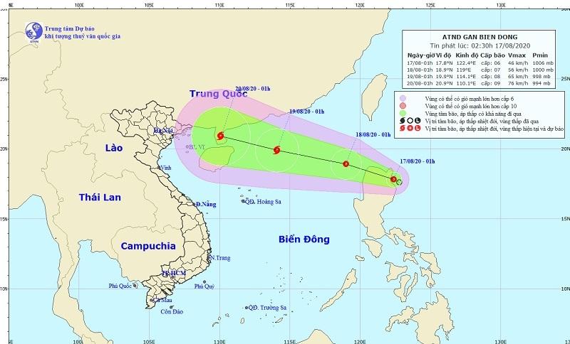 Áp thấp nhiệt đới gần Biển Đông, có thể mạnh lên thành bão lớn