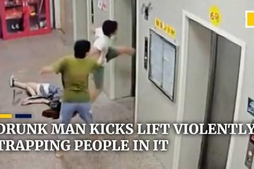 Bốn người mắc kẹt trong thang máy vì hành động của gã say rượu