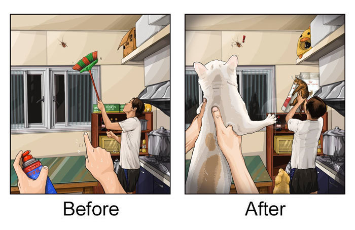 Loạt ảnh sinh động chứng minh cuộc sống thay đổi ra sao khi nhà có 'boss'