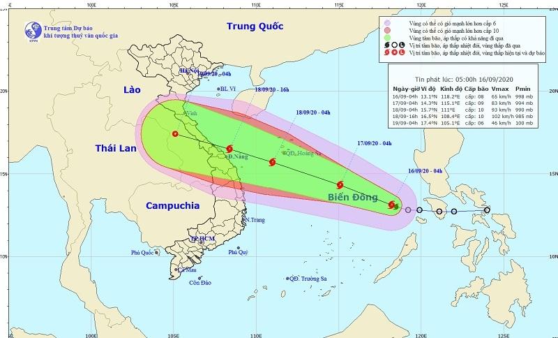 Bão số 5 gió giật cấp 11, hướng vào vùng biển miền Trung