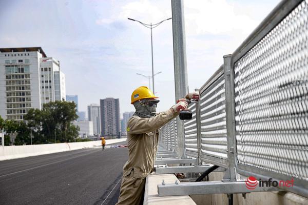 Cầu cạn Mai Dịch - Nam Thăng Long gấp rút hoàn thiện, chờ ngày thông xe