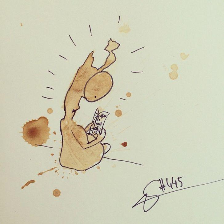 Biến vết đổ cà phê thành bức tranh quái vật hàng nghìn người mê