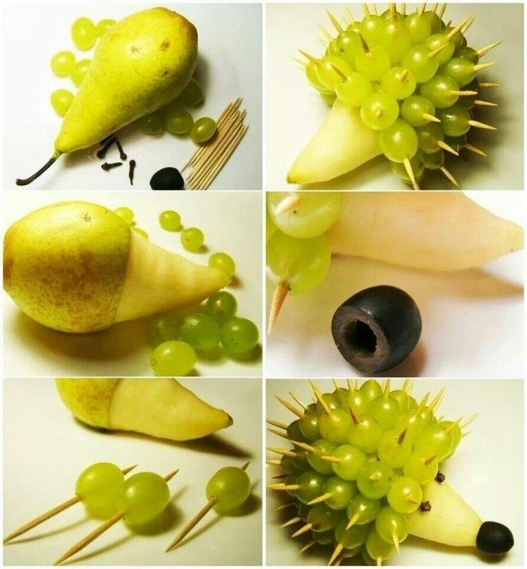 cách làm con vật bằng hoa quả 7
