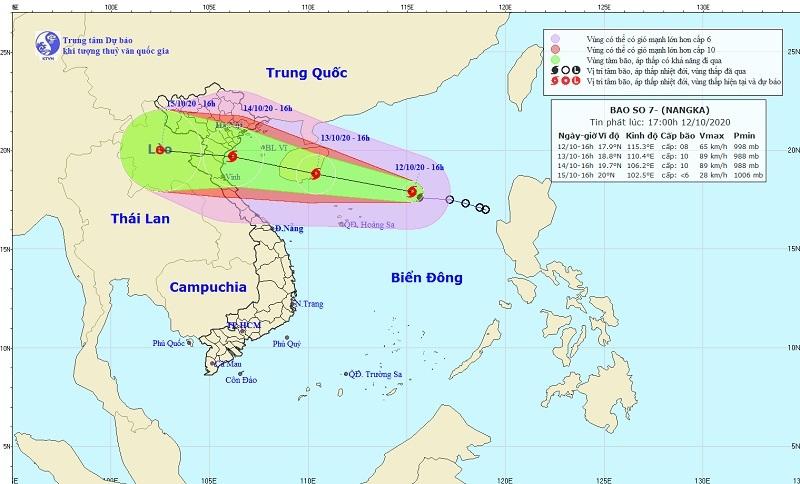 Chiều 14/10, bão số 7 giật cấp 12, áp sát bờ biển Bắc Bộ và Bắc Trung Bộ