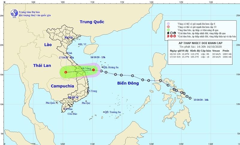 Miền Trung mưa lớn nhiều ngày, áp thấp nhiệt đới tiến vào đất liền