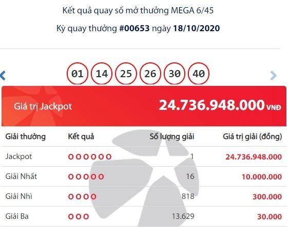 Trúng Jackpot gần 25 tỷ, tỷ phú Vietlott thứ hai của tháng 10 đã xuất hiện