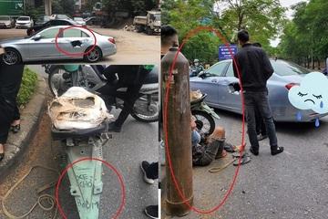 Xe máy cũ nát chở 'bom hơi' đâm thủng xế sang giữa phố khiến dân tình thót tim