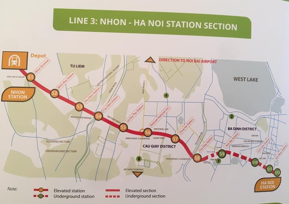 dự án metro số 3,đường sắt trên cao Nhổn - Ga Hà Nội