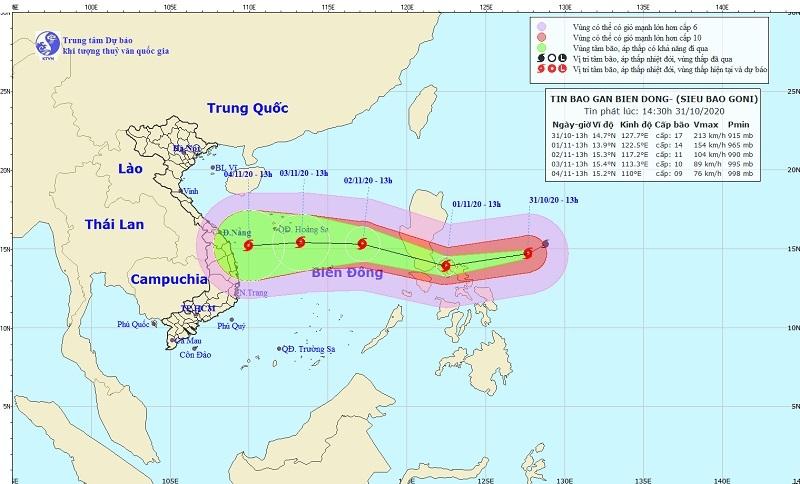 Siêu bão Goni giật trên cấp 17 di chuyển thế nào?