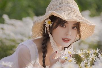 Vẻ đẹp tinh khôi của nữ sinh Tài chính bên cúc họa mi đầu mùa