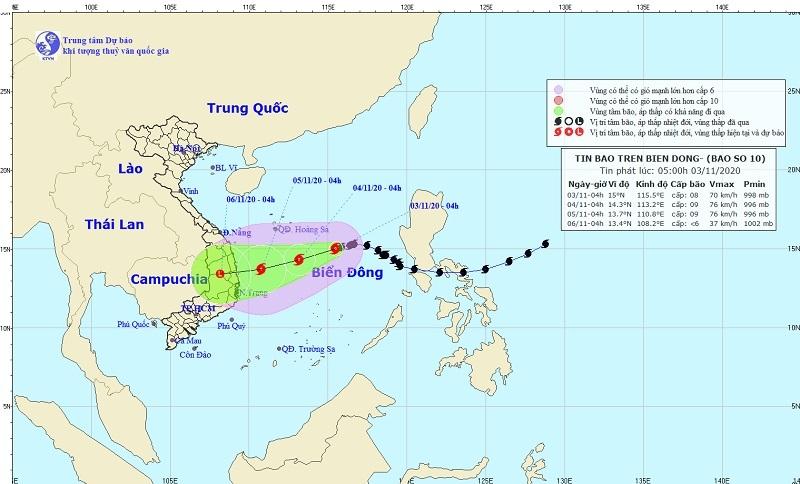 Bão số 10 di chuyển chậm, tăng cấp nhẹ khi vào gần bờ biển Quảng Ngãi - Khánh Hòa