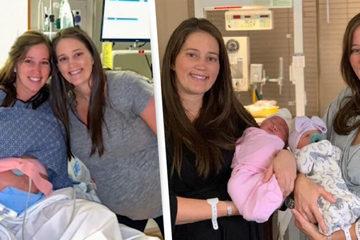 Hi hữu: Cặp chị em sinh đôi đẻ con cùng một ngày vào đúng sinh nhật