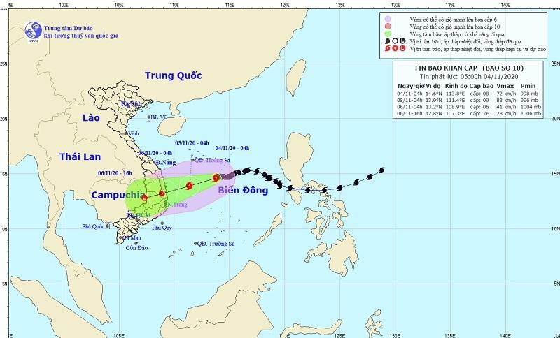 Bão số 10 sẽ gây mưa lớn ở Trung Bộ và Tây Nguyên từ đêm nay