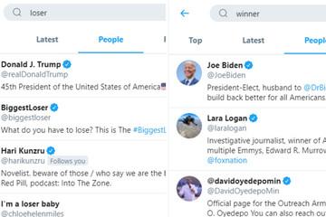 Ông Trump đứng Top Twitter với cụm từ 'người thua cuộc'