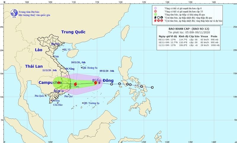 Bão số 12 hướng vào Phú Yên - Ninh Thuận, gió giật cấp 11