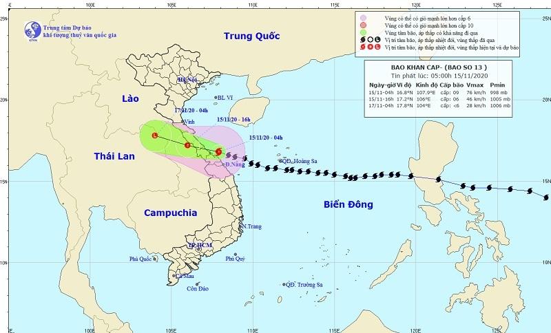 Bão số 13 áp sát đất liền, các tỉnh Thanh Hóa - Quảng Nam có mưa rất to