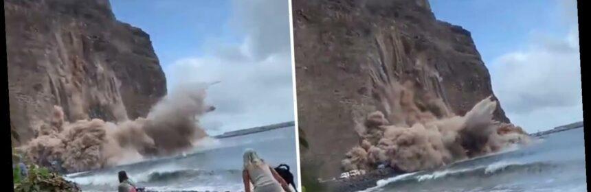 Khoảnh khắc vách đá đổ sụp ngay trước mặt du khách