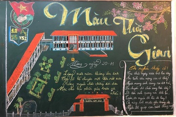 """""""Độc lạ"""" báo tường 20/11 vẽ trên bảng của học sinh Thanh Hóa"""