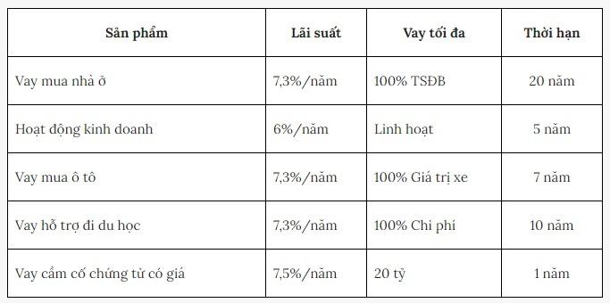 lãi suất cho vay ngân hàng bidv tháng 12/2020