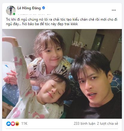 """Hai con gái """"siêu quậy"""" nhà Hồng Đăng tạo kiểu tóc Lee Min Ho cho bố"""