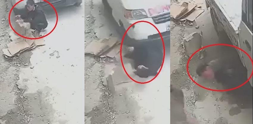 Clip: Người đàn ông lồm cồm bò dậy sau khi bị xe tải cán qua