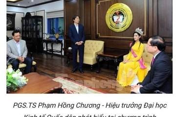 """""""Bão mạng"""" vì ảnh Hoa hậu Đỗ Thị Hà về trường ngồi ngang hàng thầy Hiệu trưởng"""