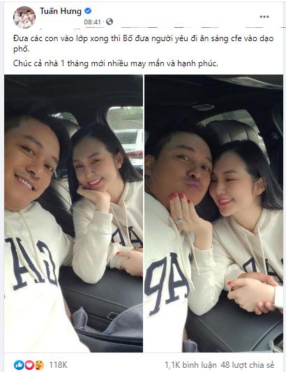"""Tuấn Hưng khoe ảnh 'tình bể bình' với vợ, ngọt ngào gọi Hương Baby là """"người yêu"""""""