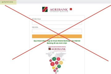 Xuất hiện trang web giả mạo Agribank để lừa đảo
